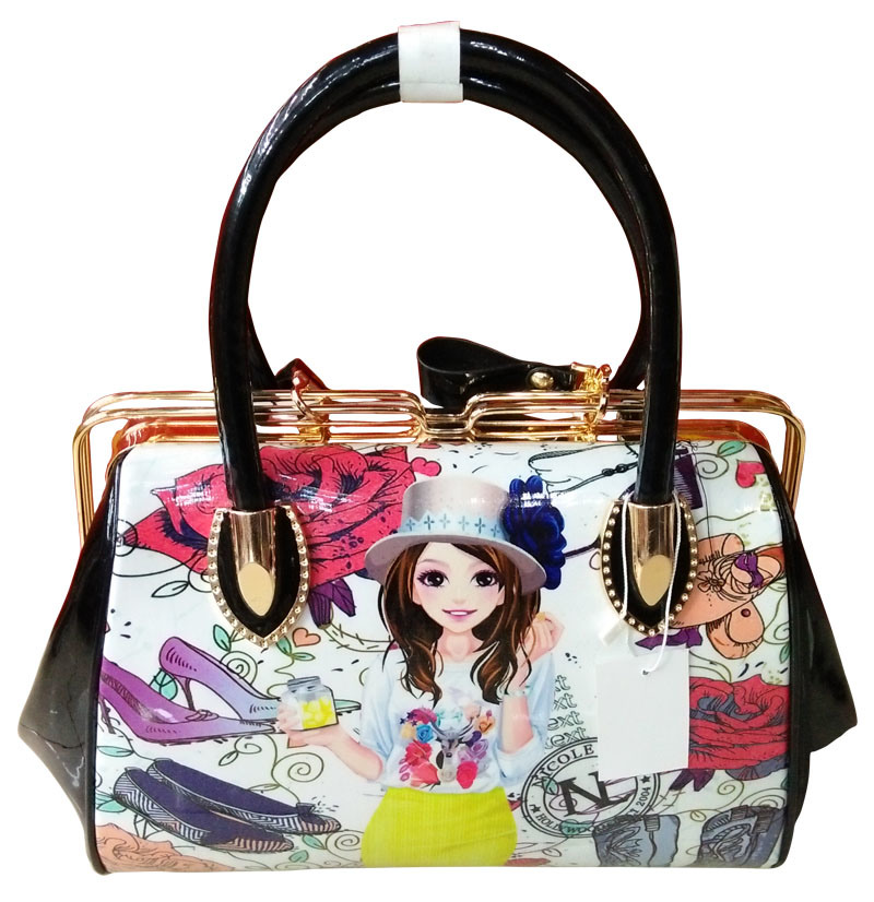 China Supplier Cartoon Design Leather Fashion Handbags Ladies