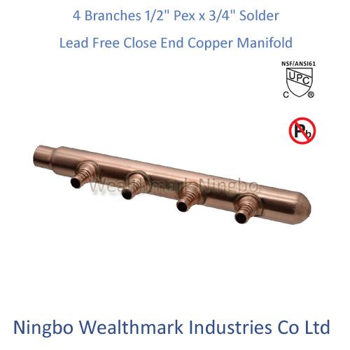 """Lead Free 4 Branches 1/2""""Pex X 3/4"""" Pex Closed End Copper Manifold"""