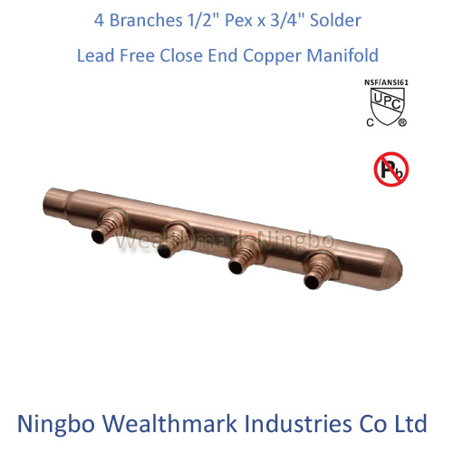 "Lead Free 4 Branches 1/2""Pex X 3/4"" Solder Closed End Copper Manifold"