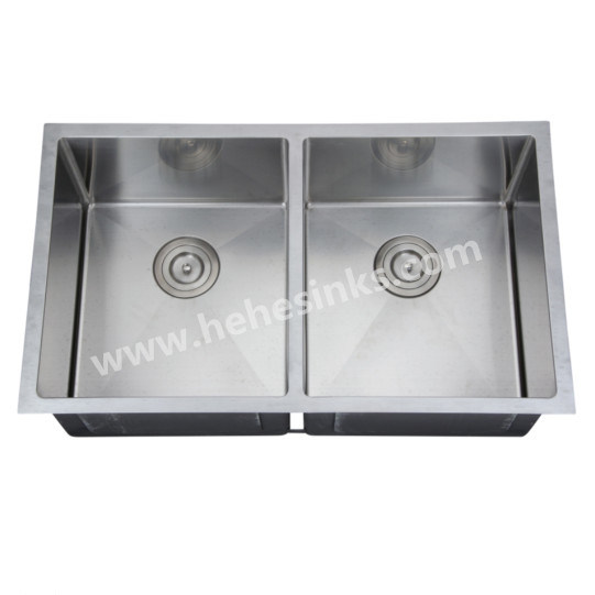 Square Double Bowl Handmade Sink with Cupc Approved, Handcraft Sink (HMSD3219)