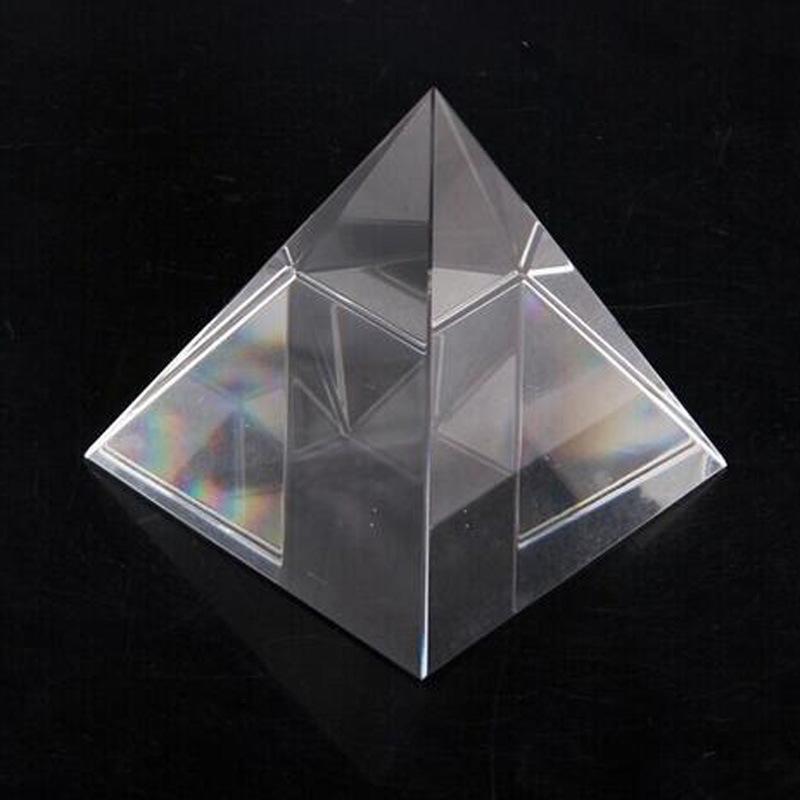 Elegant Clear Quartz Crystal Pyramid Paperweight Glass Pyramid