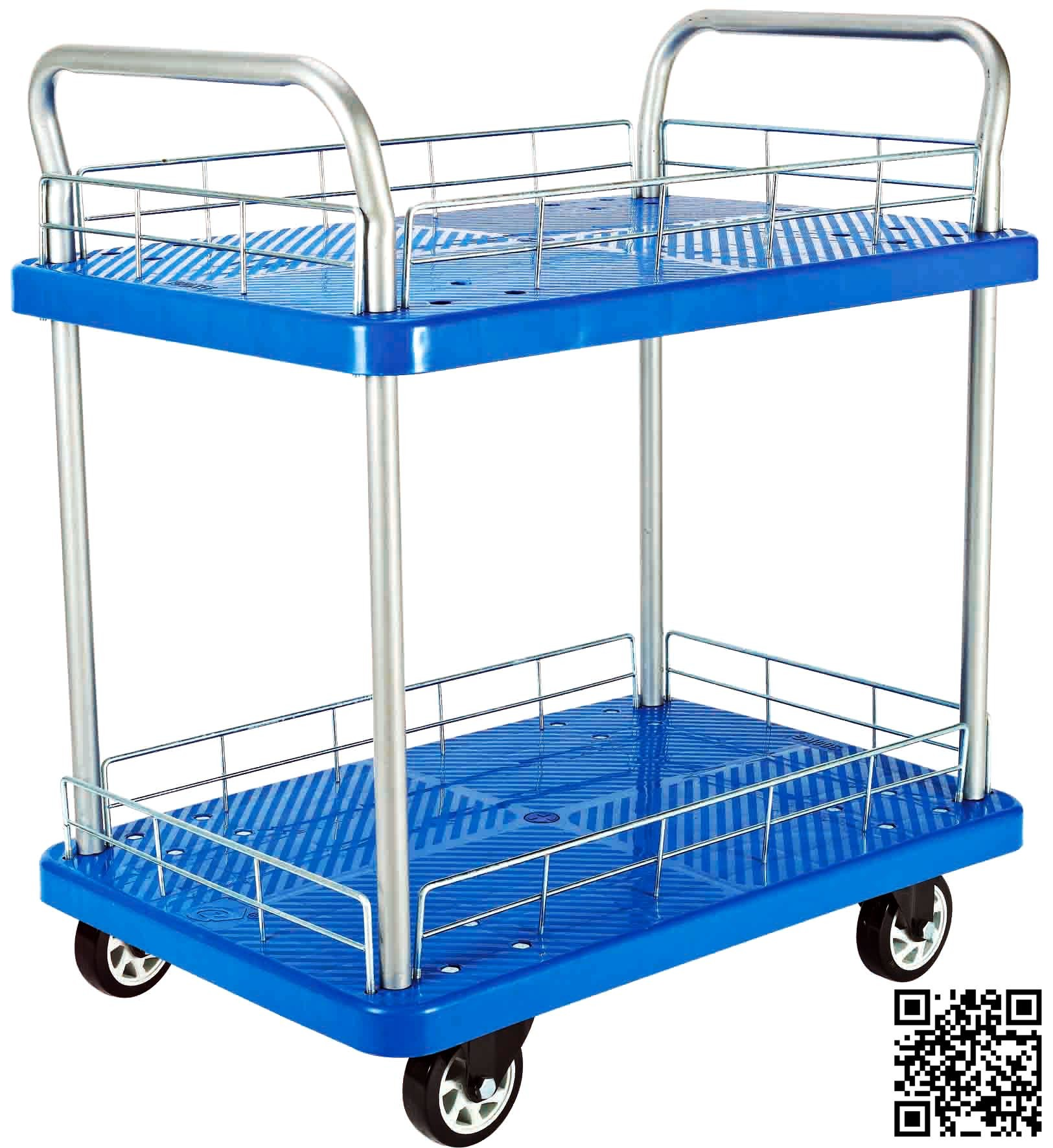 300kgs Blue Double Layers Plastic Hand Trolley with Mesh