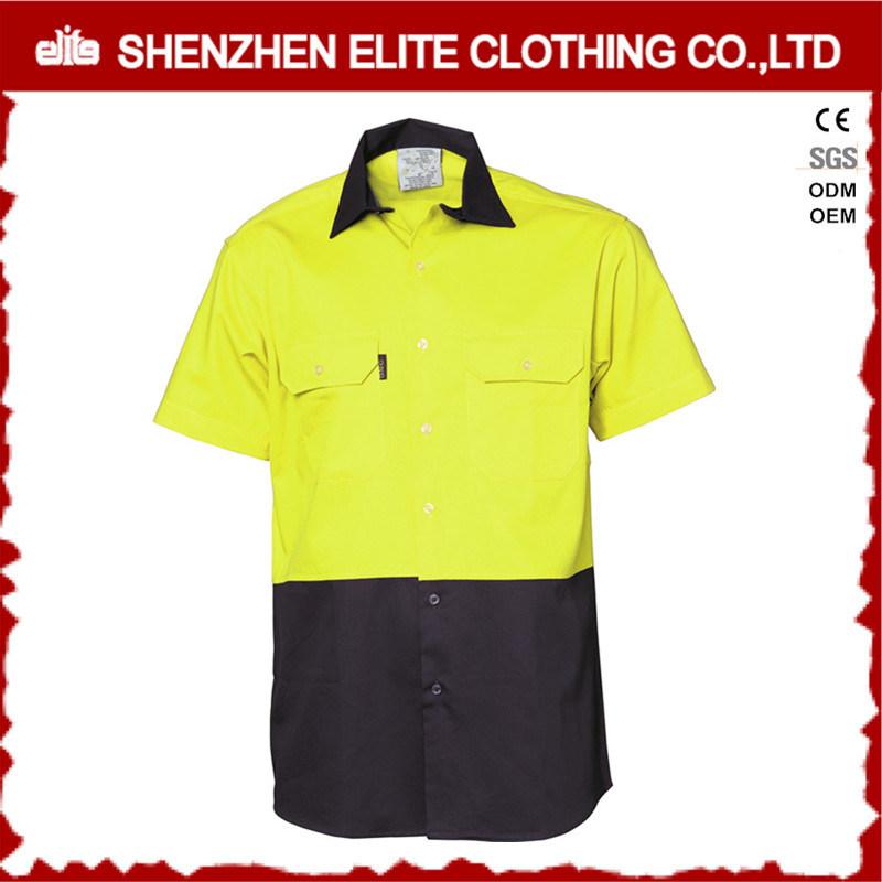 Custom Logo Cotton Drill Reflective Safety Shirts with Pocket