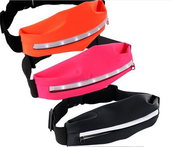 Unisex LED Glow Mobile Sport Running Belt Bag/Waist Bag for Outdoor Sports
