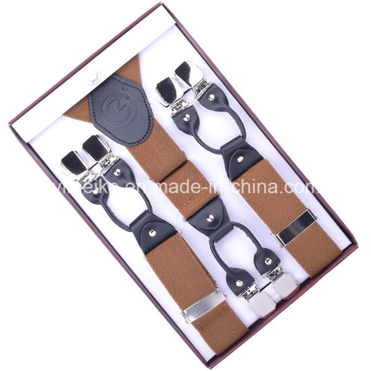 Men′s Fashion Leather Clip Suspenders (BD1007)