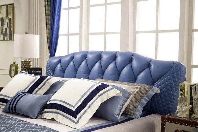 2017 Modern Bed Room Furniture Wooden Frame Leather Soft Bed