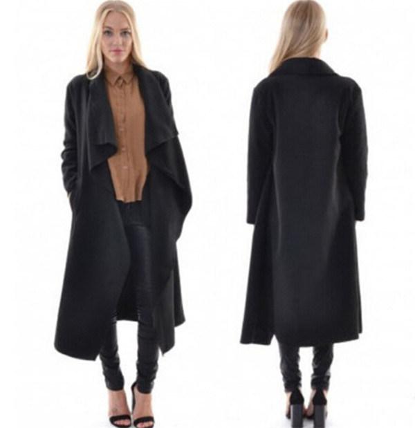 China New Ladies Open Front Loose Black Long Coat Top Overcoat