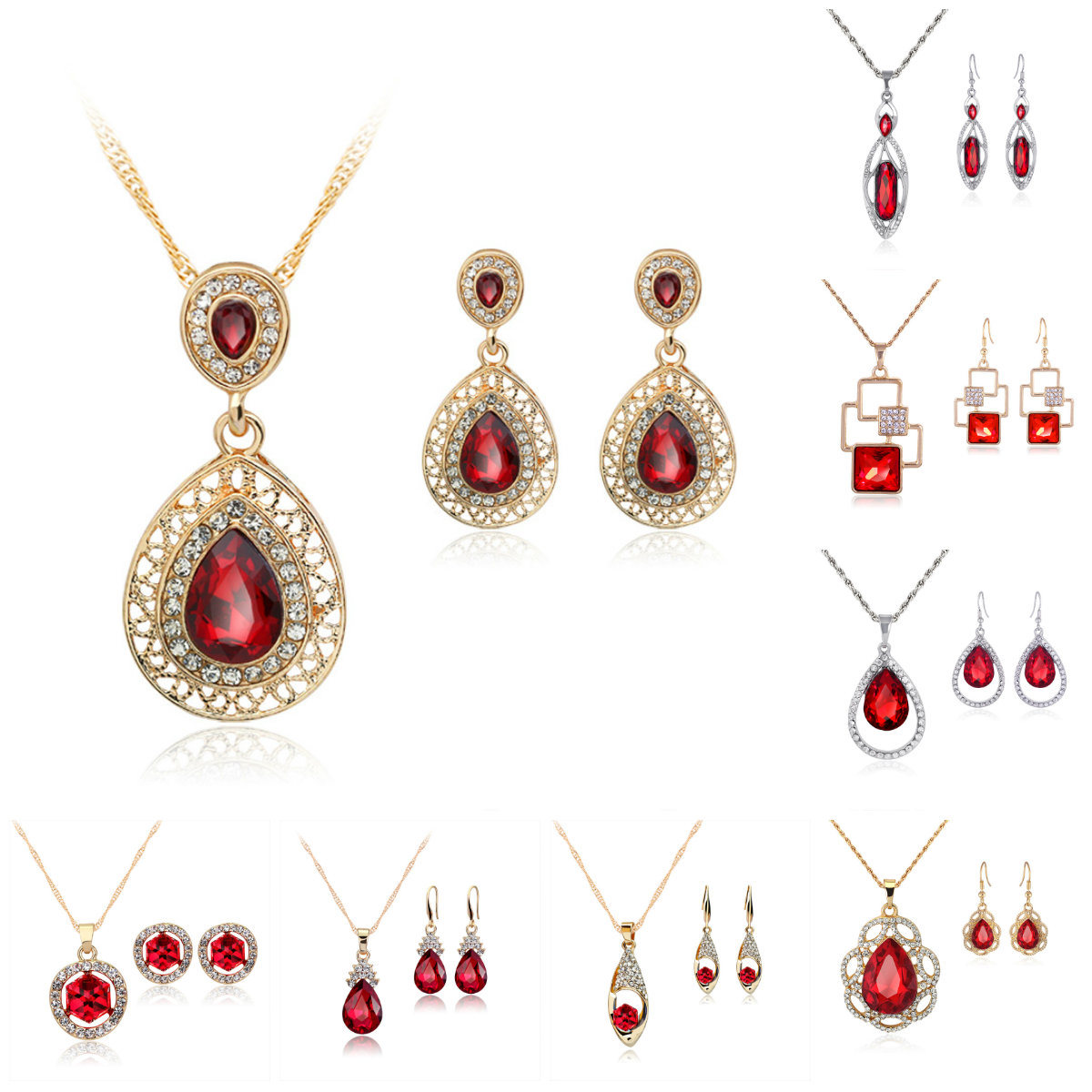 Wholesale Fashion Jewellery Set of Wedding Ring, Earring, Bracelet and Necklace in 925 Sterling Silver Fashion Jewelry Set (521853864603)