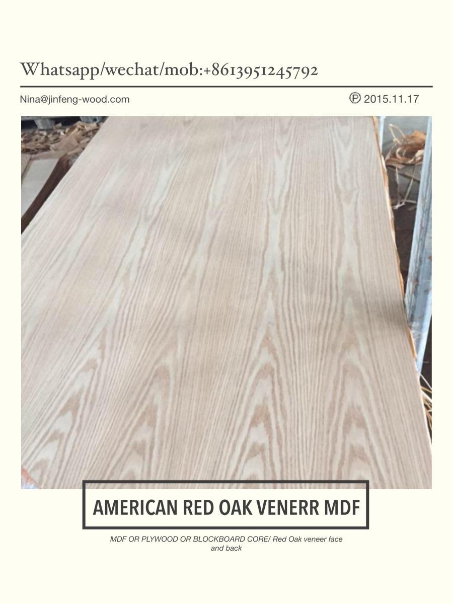 MID East Market Red Oak Veneer Board Natural MDF Plywwod Blockbaord
