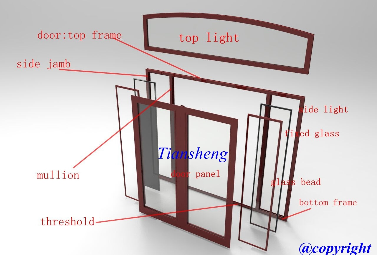 Customized American Style Highh Quality Aluminum French Door with Double Glazing