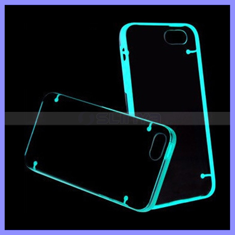 Double Mix Color Light up Flashing Glow in The Dark Mobile Phone Bumper Case for iPhone 6s Plus Samsung S5 S6 S7 Edge Note 4 5