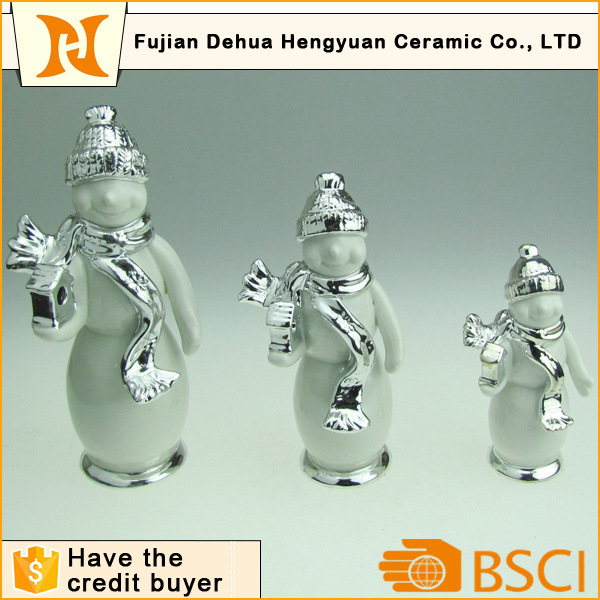 Plating Ceramic Snowman Craft for Home Decoration