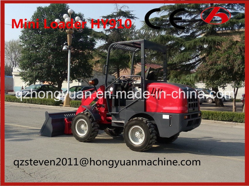 Mini Wheel Loader with 1000kg Rated Loading Weight (HY910)