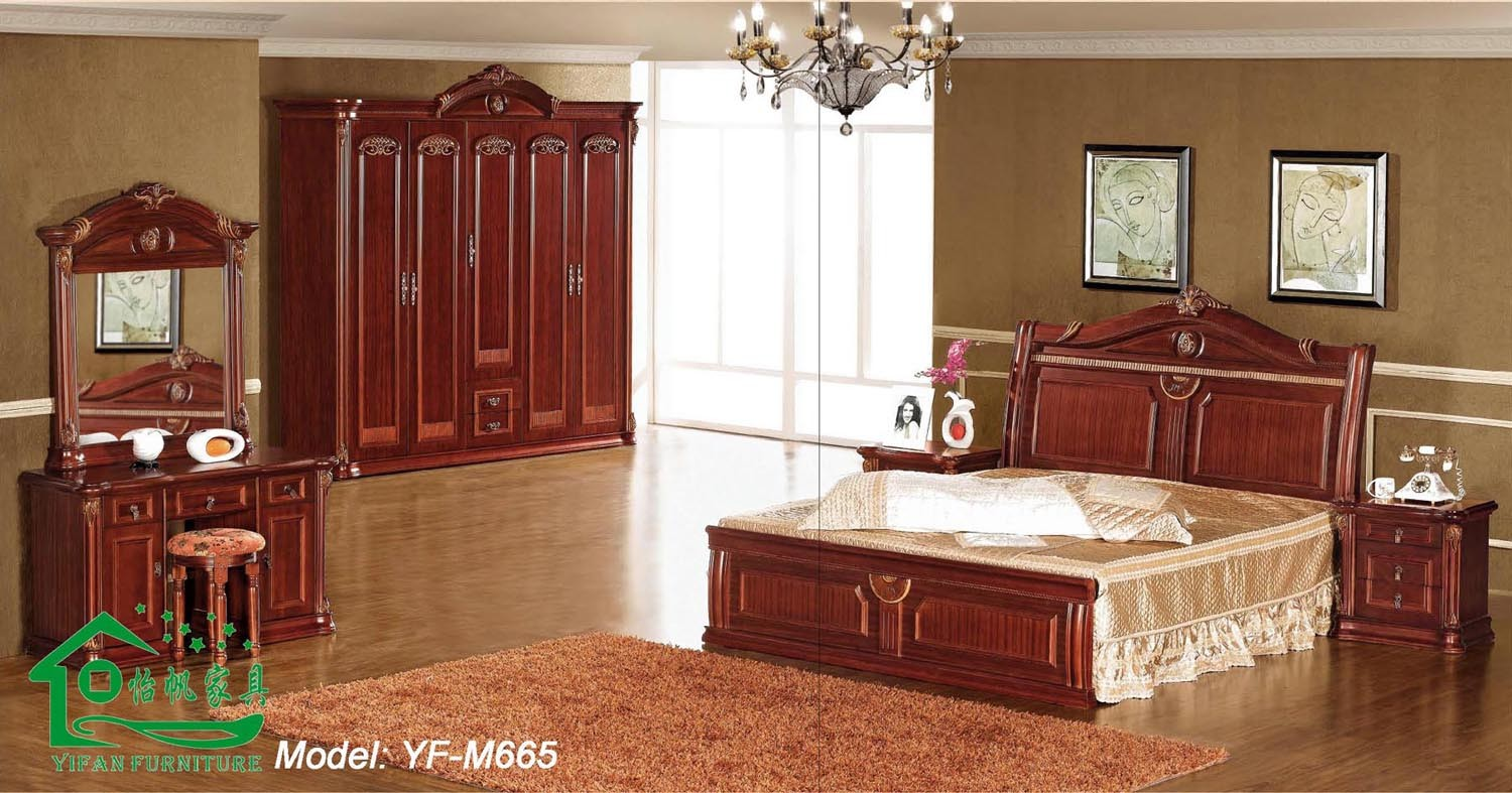Bedroom furniture with 80 inch length wooden bed yf m665 - Chambre a coucher en bois ...