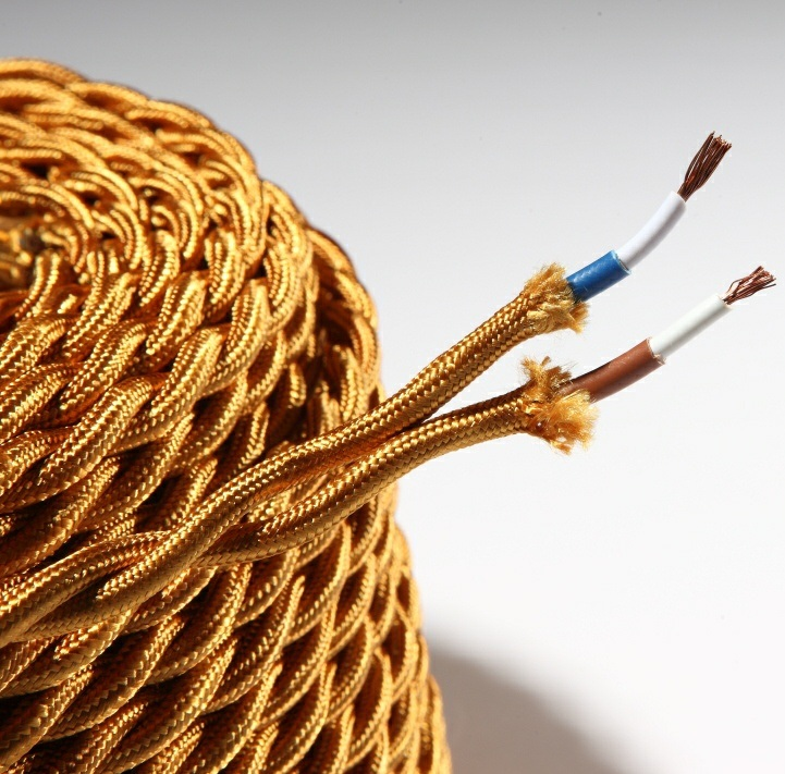 Colored Fabric Covered Lighting Cable in 2 and 3 Core Twisted Braided Wire Cable (BYW-8001)