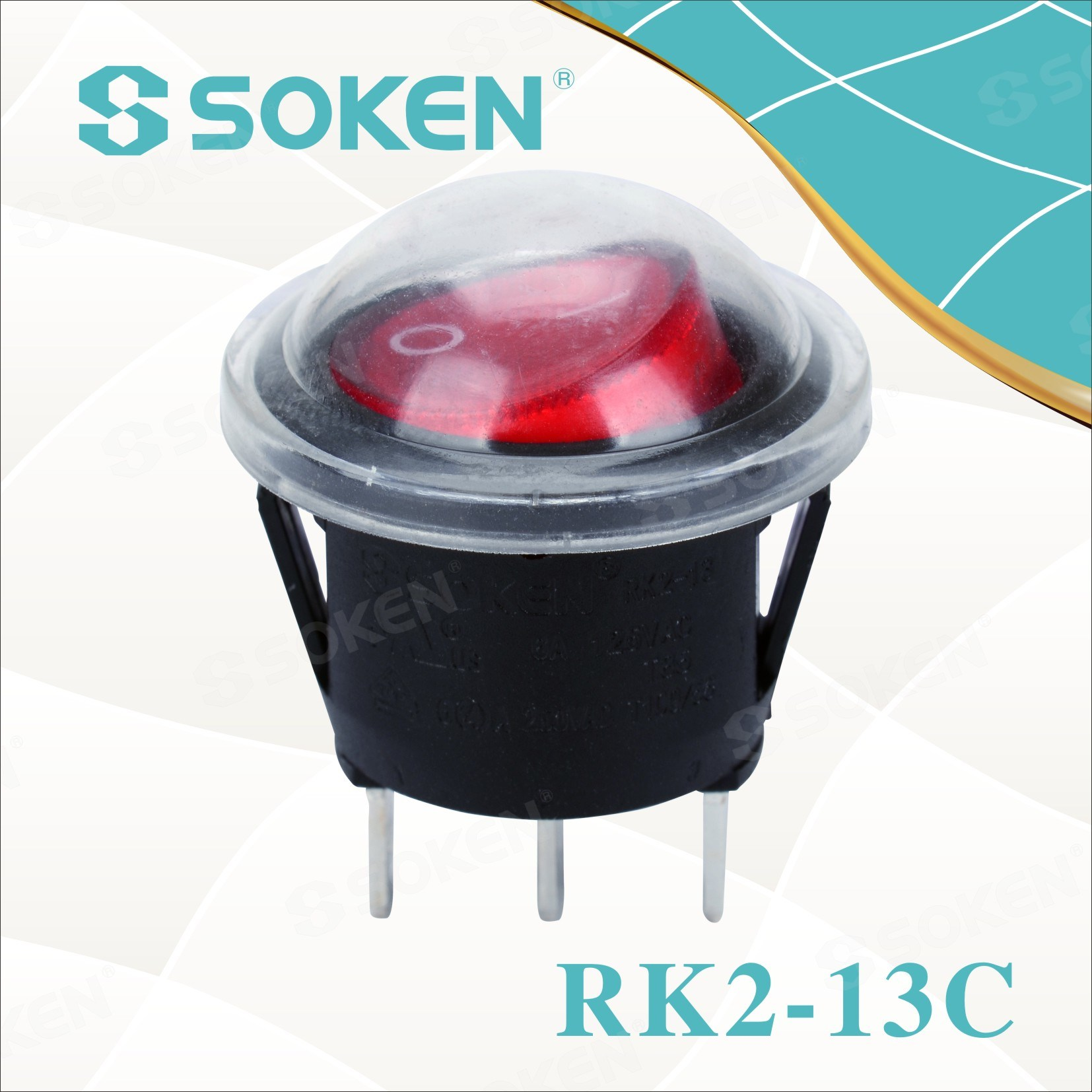 Soken Rk2-13c Round Waterproof Rocker Switch