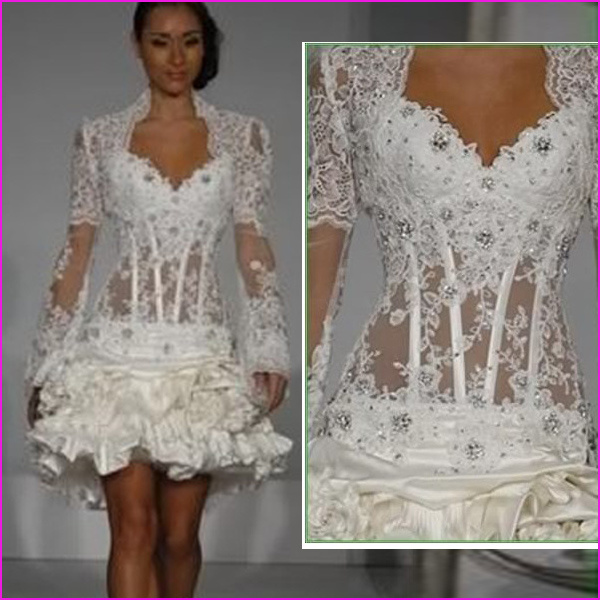 China Sexy Short Beaded Lace Long Sleeves Wedding Dress L06 Photos Amp Pictures