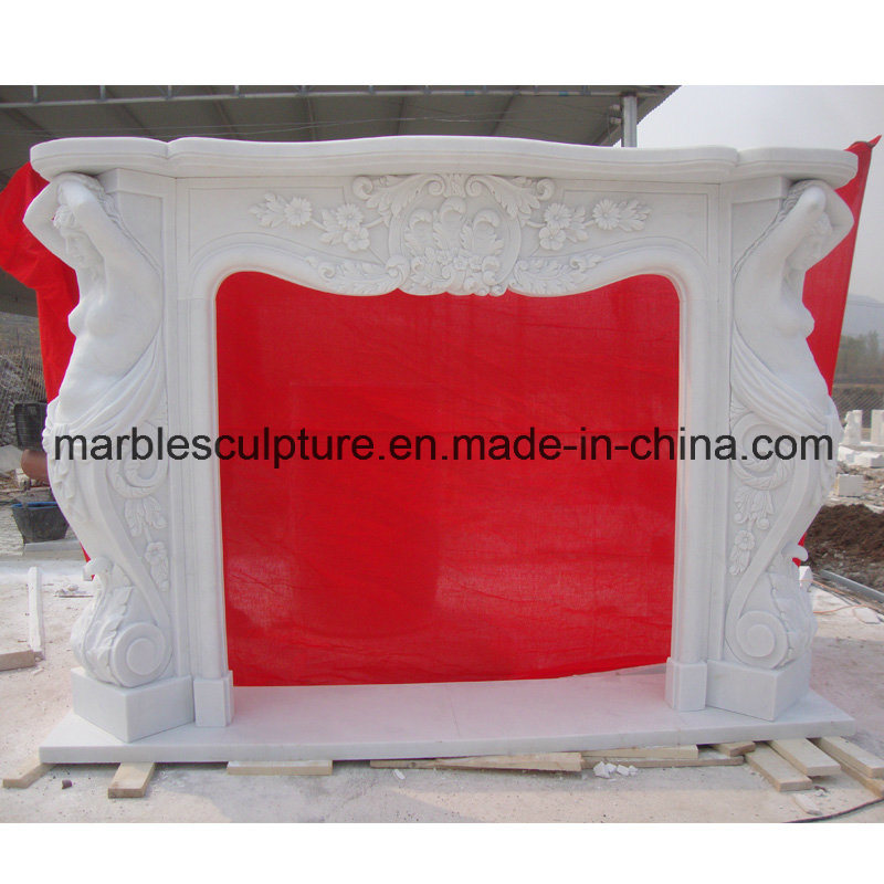 White Statue Surround Marble Fireplace (SY-MF21)