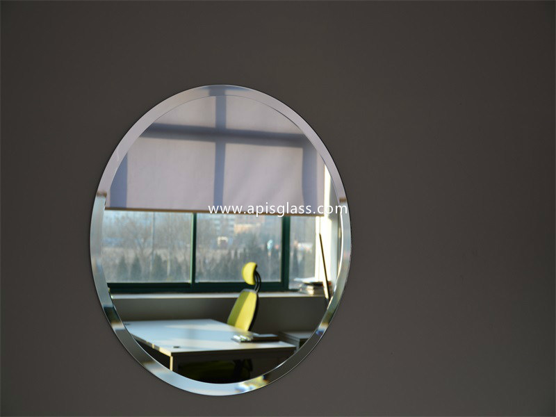 6mm Oval Clear Sliver Coated Bathroom Frame Mirror/Safety Mirror with Beveled Edges