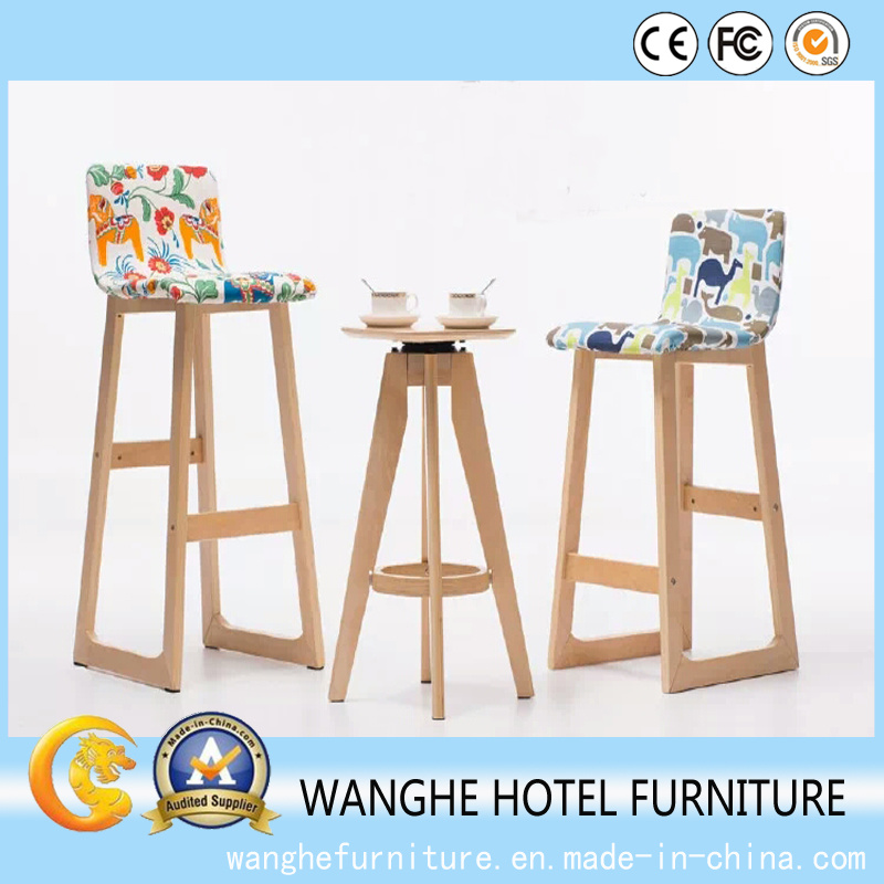 Fixed Wood Bar Table and Stool Bar Chair Set