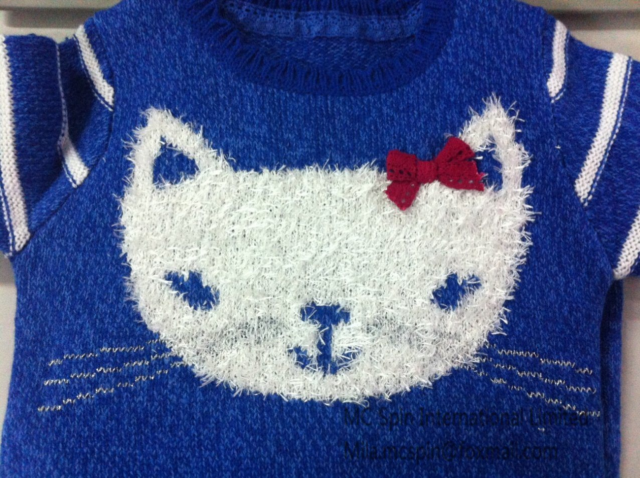 Kid′s Knitted Sweater - Girls Intarsia Cat Jumper