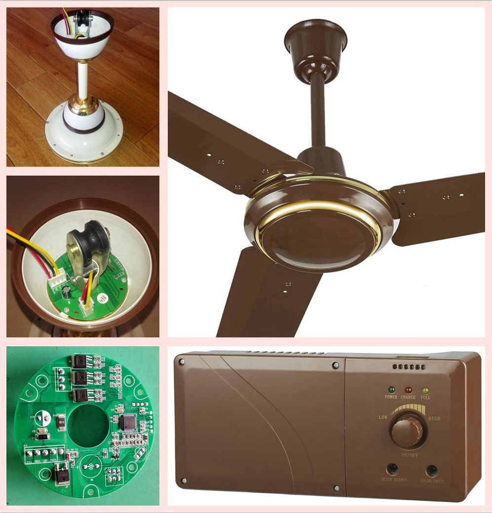 10 Years Life Solar Rechargeable 220V AC Input Ceiling Fan with BLDC Motor