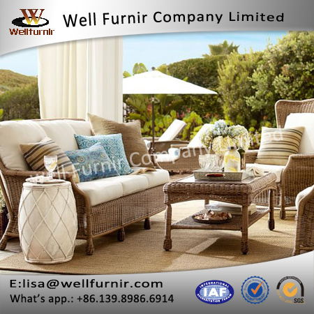 Well Furnir Wicker Garden Furniture 4 Piece Deep Seating Group with Cushions J005