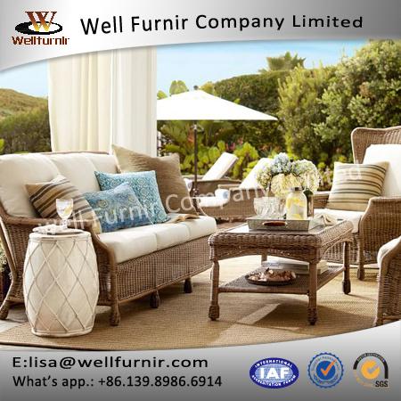 Well Furnir Wicker Garden Furniture 4 Piece Deep Seating Group with Cushions