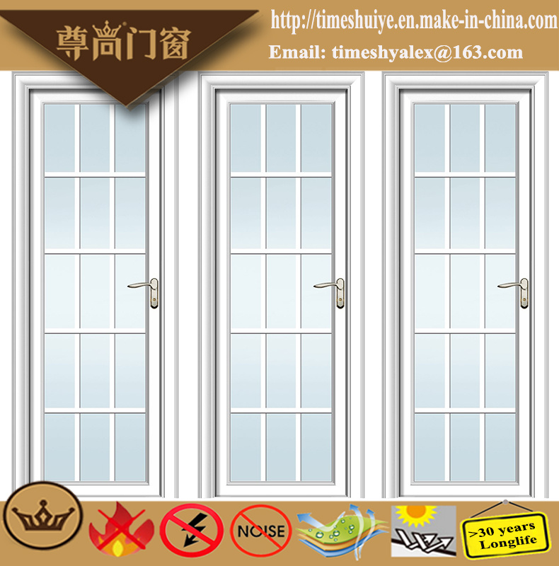 Frosted Glass Decoration Sandalwood Grain Aluminium Swing Door with Lattice Bar