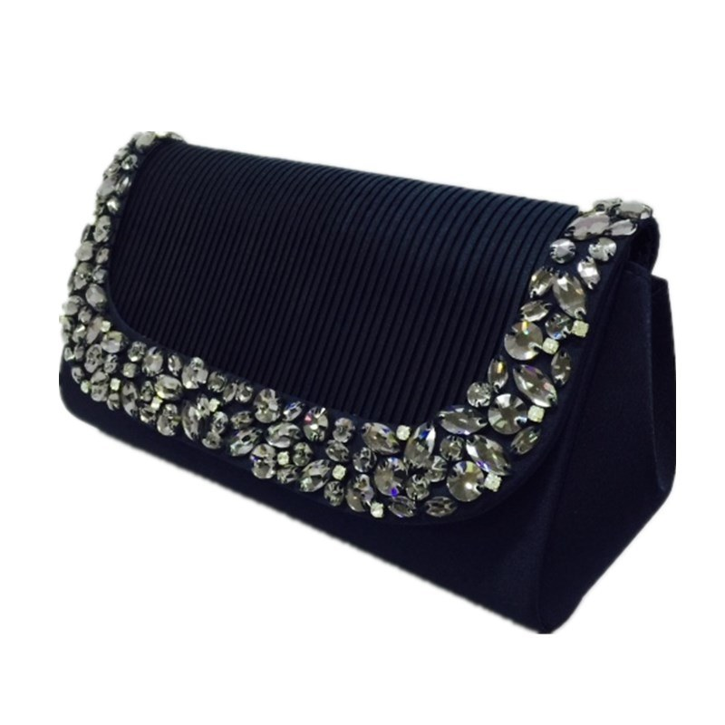 Black Party Bag Woven Eveningbag with Rhinestone