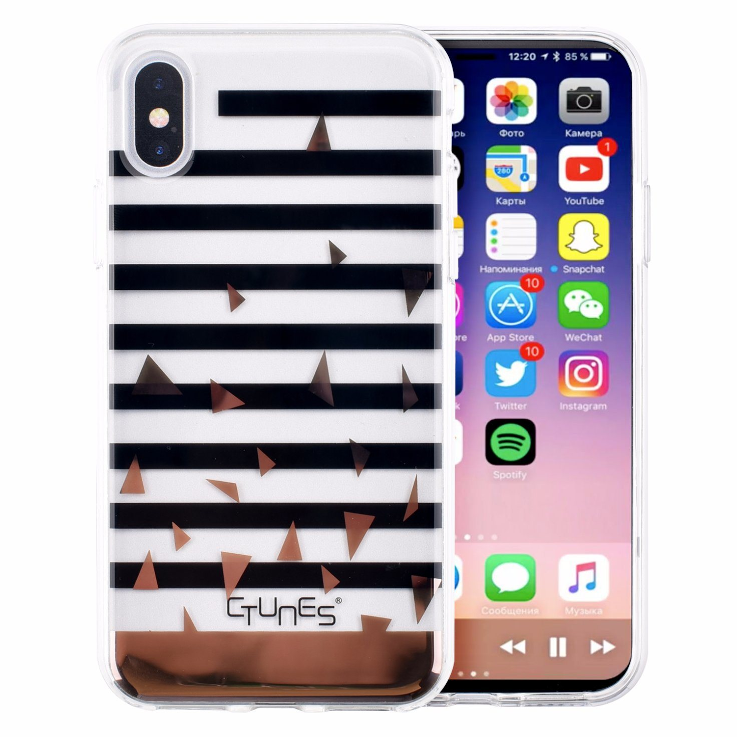 IMD Gold Marble Wave Stripes Glossy Clear Soft Flexible TPU Mobile Cell Phone Accessories Case Cover for iPhone X
