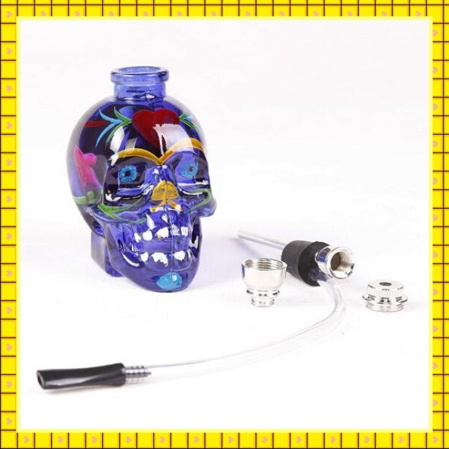 Hot Selling Skull Colored Drawing Glass Water Pipe Hookah