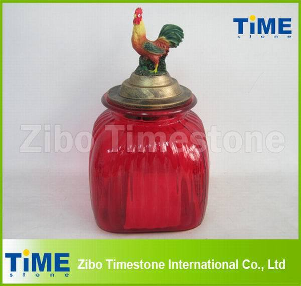 Big Colored Wide Mouth Glass Storage Jar