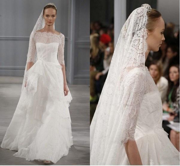 2014 robe de mari e nouveau une ligne dentelle manches 3 4 for Nous robes de mariage en ligne