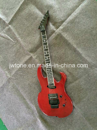 Transparent Red Color Neck Through Body Guitar
