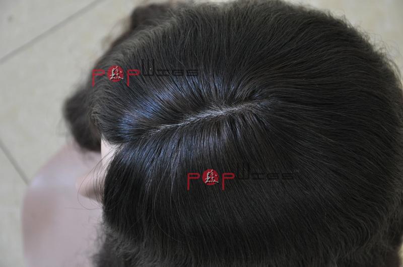 Short Women Human Virgin Hair Silk Top Wigs
