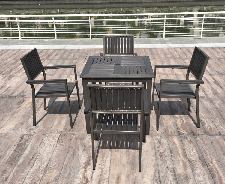 Aluminum Plastic Wood Chair Table Outdoor Patio Furniture (J803)