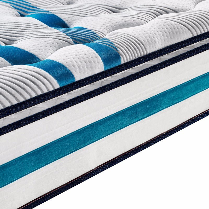 Deluxe Natural Latex Compressed Spring Mattress with Figured Knitted Fabric Cover for Bedroom Furniture - Fb831
