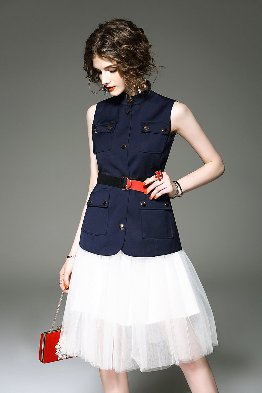 Customization Women′s Vintage Sexy Plus Size Dress Excellent Gauze V-Neck Sleeveless Skirt