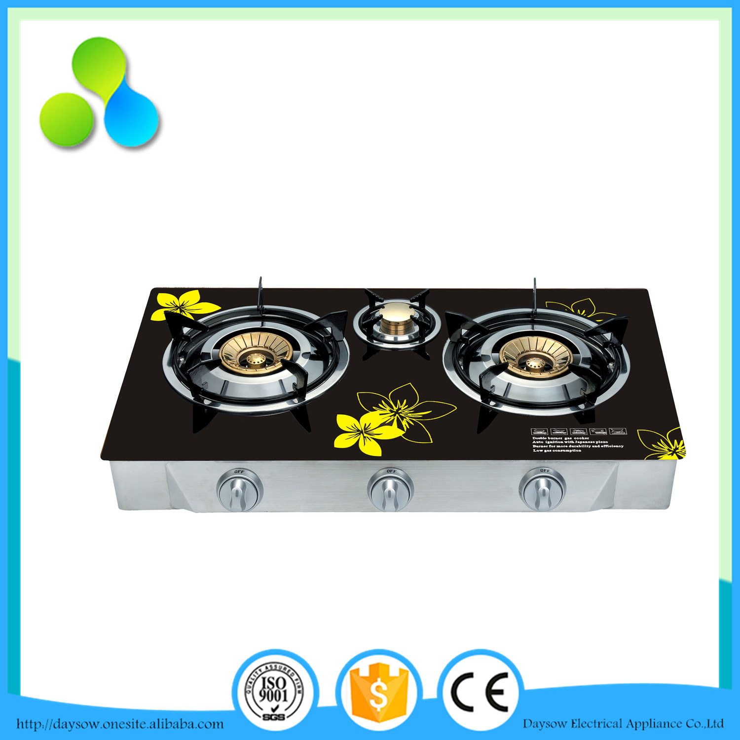 3 Burner Table Gas Hob Indian Style Countertop Gas Stove
