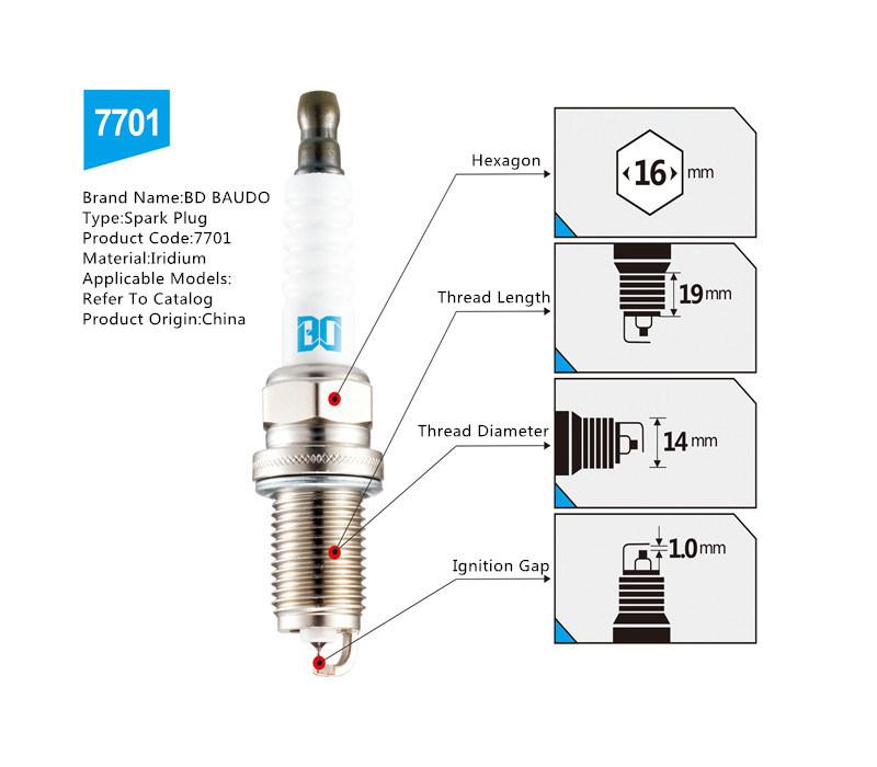 Bd 7701 Iridium Spark Plug High Performance Ignition System for Toyota RAV4 Corolla Vios Landcruiser Camry, Ect