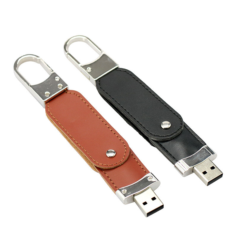 Swivel Leather USB Flash Drive Stamp Logo Gift