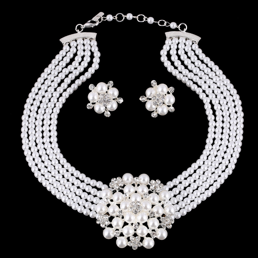 Fashion Diamond Pearl Flower Choker Necklace Earring 2 PCS Set Jewelry