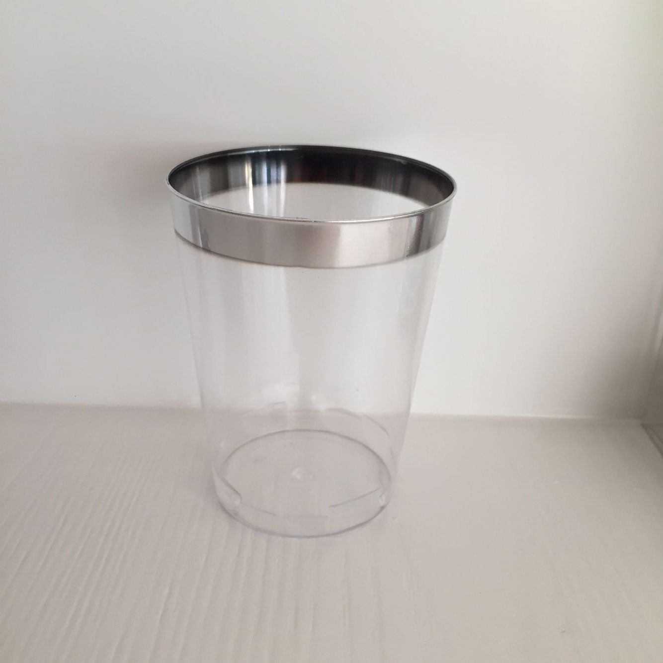 Glass, Tableware, PS, Transparent, Disposable, Colorful, Silver Rim, Plastic Cup