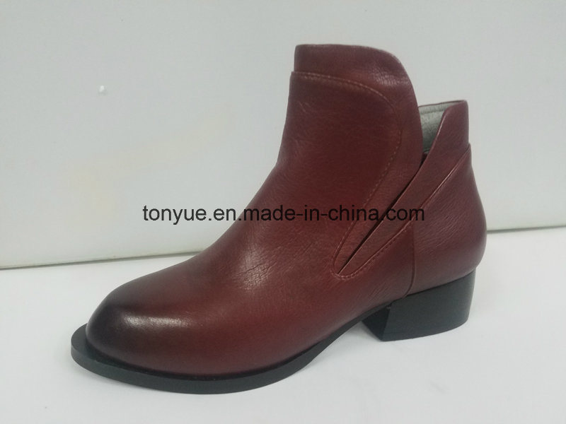 Lady Leather Shoes Head Brush Color Restoring Ancient Ways Pointed Short Boots