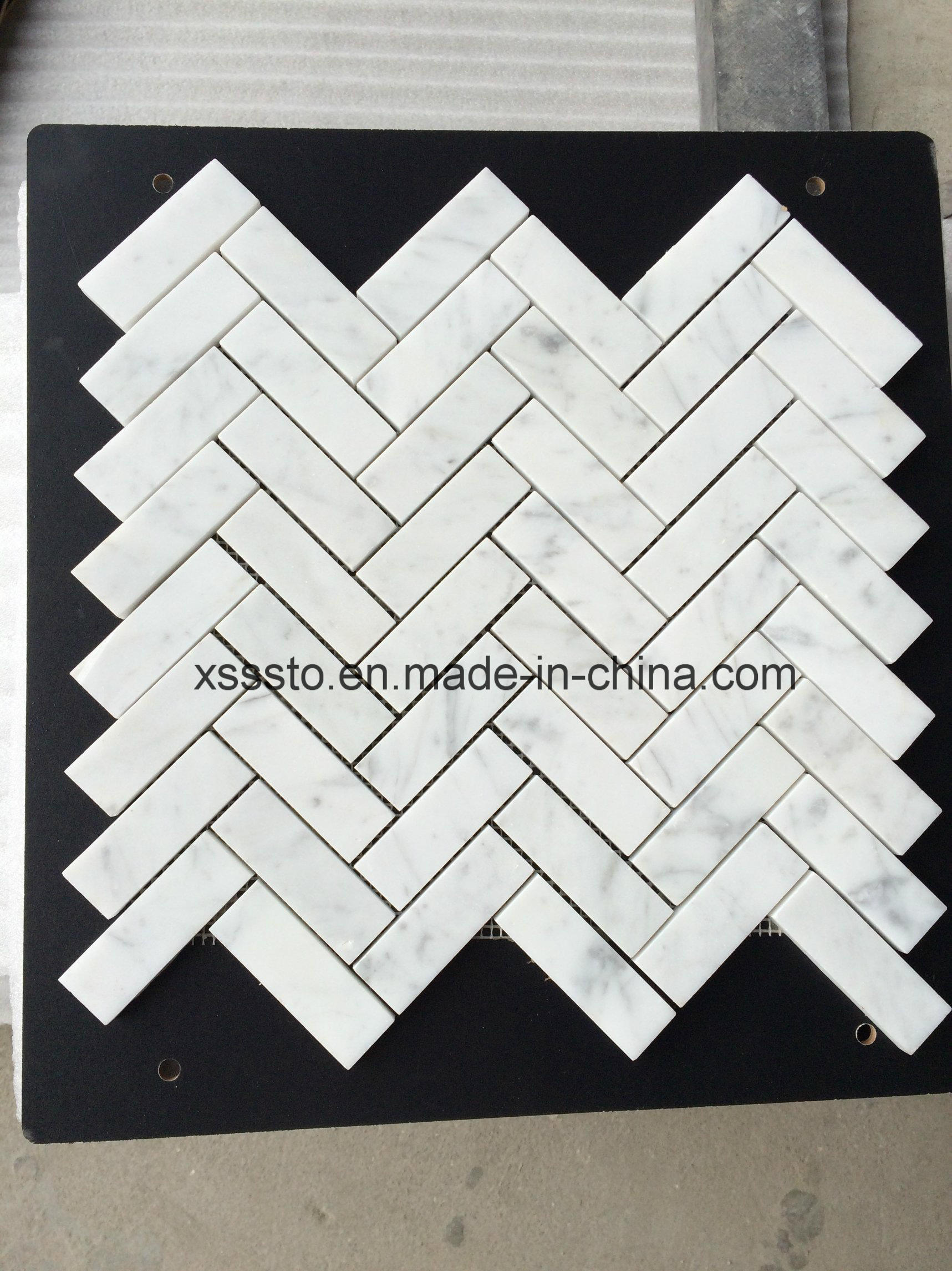 Bianco Carrara White Marble Mosaic Tiles for Kitchen Backsplash & Bathroom