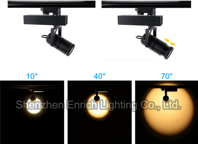 15W/25W Adjustable Beam Angle Single Phase 2 Wires COB LED Track Lighting