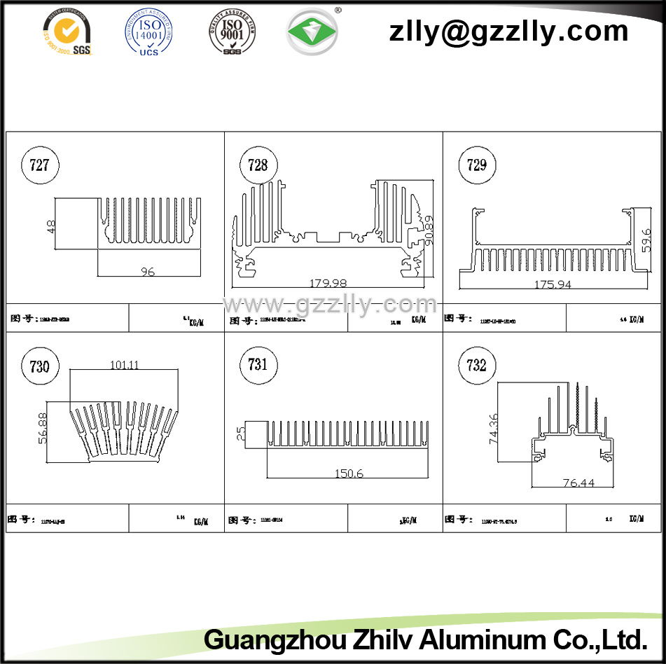 High Quality Anodic Oxidation Extruded Aluminium Heat Sink