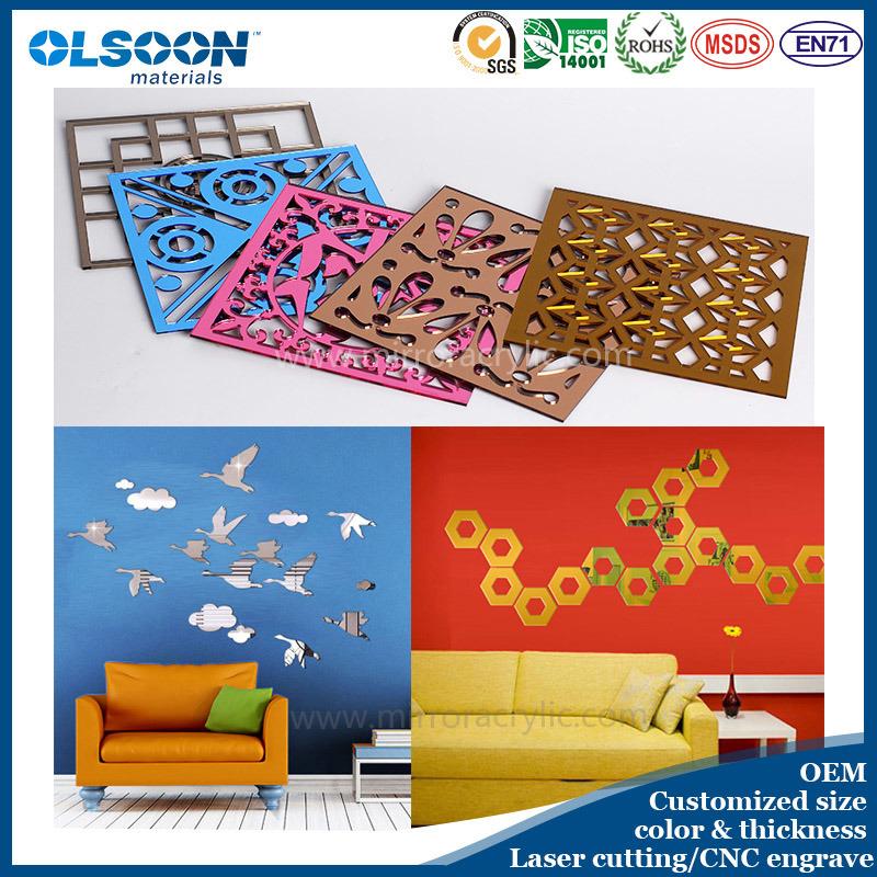 Olsoon Custom Design Acrylic Home Wall Decoration Decorative Mirror Decor