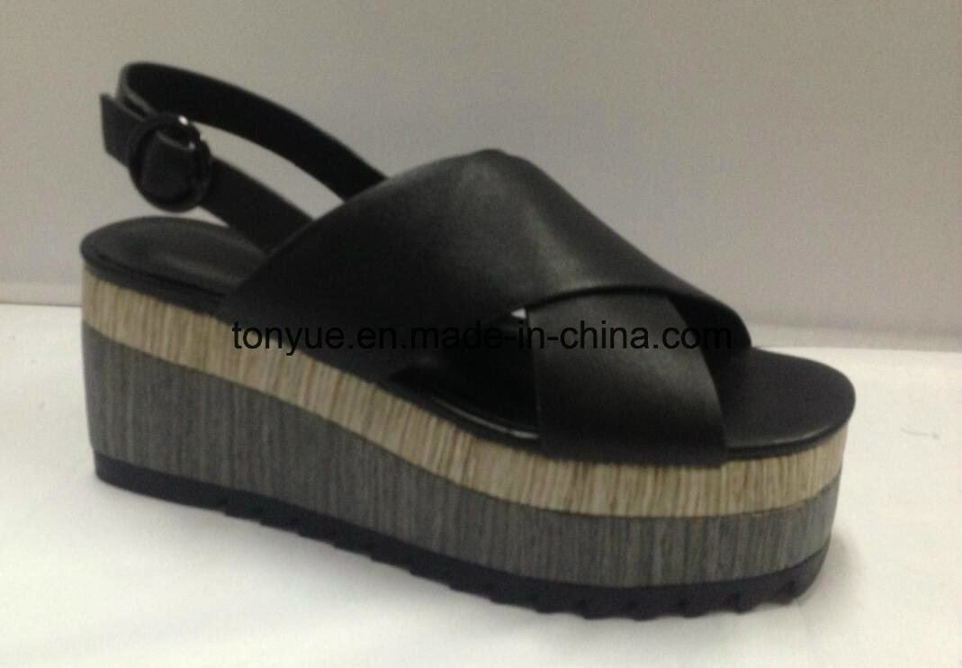 Lady Genuine Leather Shoe Thick Wood with Grain Rubber Outsole Women Sandals